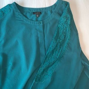 Talbots teal button down lace sleeve detail